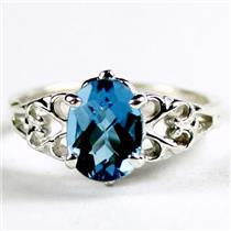 SR302, London Blue Topaz, 925 Sterling Silver Ring