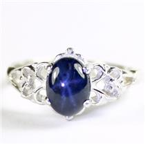 925 Sterling Silver Ladies Ring, Natural Blue Star Sapphire, SR302