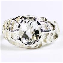 925 Sterling Silver Men's Nugget Ring, Silver Topaz, SR168