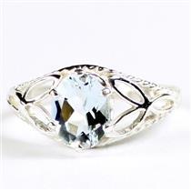 SR137, Aquamarine, 925 Sterling Silver Ring