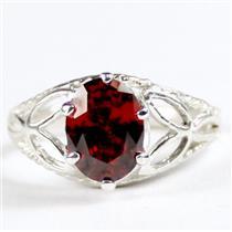 SR137, Garnet CZ, 925 Sterling Silver Ring