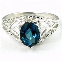 SR137, London Blue Topaz, 925 Sterling Silver Ring