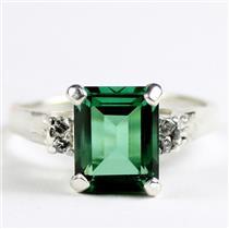 SR221, Russian Nanocrystal Emerald, 925 Sterling Silver Ring