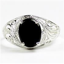 SR083, Black Onyx, 925 Sterling Silver Ladies Ring