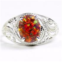 SR083, Created Red Brown Opal, 925 Sterling Silver Ladies Ring