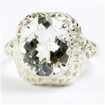 SR009,  Silver Topaz, 925 Sterling Silver Antique Style Filigree Ladies Ring