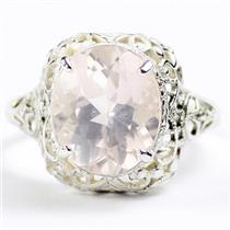 SR009,  Rose Quartz, 925 Sterling Silver Antique Style Filigree Ladies Ring