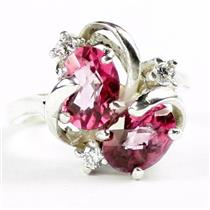 SR016, Pure Pink Topaz, 925 Sterling Silver Ring