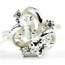 SR016, Silver Topaz, 925 Sterling Silver Ladies Ring