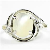 SR021, Mother Of Pearl, 925 Sterling Silver Ladies Ring