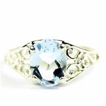 Aquamarine, 925 Sterling Silver Ladies Ring, SR005