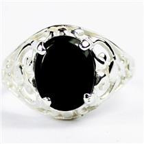 925 Sterling Silver Ladies Filigree Ring, Black Onyx, SR004