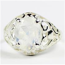 Rainbow Moonstone, 925 Sterling Silver Ring, SR004