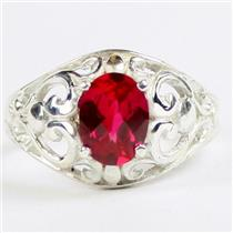 Created Ruby, 925 Sterling Silver Ring, SR111