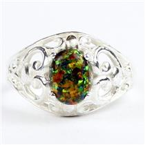 Created Black Opal, 925 sterling silver Ring, SR111,