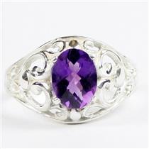 925 Sterling Silver Ladies Ring, Amethyst, SR111