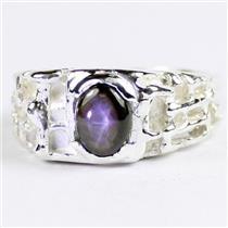 925 Sterling Silver Men's Nugget Ring, Black Star Sapphire, SR197