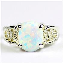 Created White Opal, 925 Sterling Silver Ladies Ring, SR369
