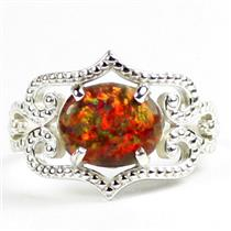 SR367, Created Red Brown Opal, 925 Sterling Silver Ladies Ring