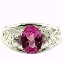 SR306, Created Pink Sapphire, 925 Sterling Silver Ring with Accents