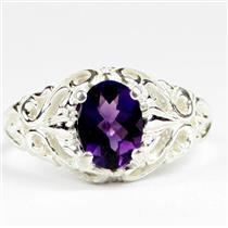 925 Sterling Silver Ladies Ring, Amethyst, SR113