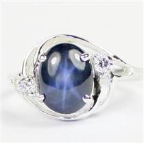 925 Sterling Silver Ladies Ring, Blue Star Sapphire, SR021