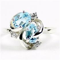 SR016, Swiss Blue Topaz, 925 Sterling Silver Ring