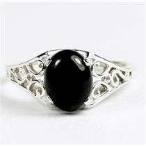 925 Sterling Silver Ladies Filigree Ring, Black Onyx, SR005