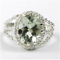Green Amethyst (Prasiolite), 925 Sterling Ladies Silver Ring, SR070