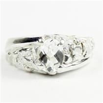 925 Sterling Silver Men's Nugget Ring, Silver Topaz, SR368