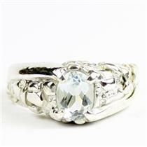 925 Sterling Silver Men's Nugget Ring, Aquamarine, SR368