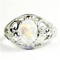 Rainbow Moonstone, 925 Sterling Silver Ladies Ring, SR311
