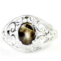 925 Sterling Silver Ladies Filigree Ring, Black Star Sapphire, SR111