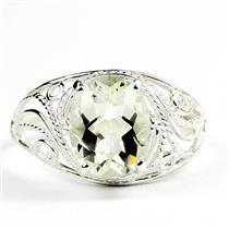 Green Amethyst (Prasiolite) 925 Sterling Silver Ladies Ring, SR083
