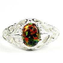 Created Black Opal, 925 Sterling Silver Ladies Ring, SR113