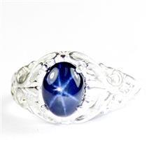 925 Sterling Silver Ladies Ring, Blue Star Sapphire, SR113