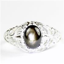 925 Sterling Silver Ladies Filigree Ring, Black Star Sapphire, SR113