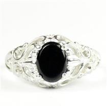 925 Sterling Silver Ladies Ring, Black Onyx,  SR113
