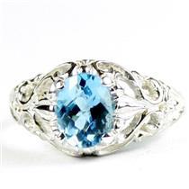 Swiss Blue Topaz, 925 Sterling Silver Ladies Ring, SR113