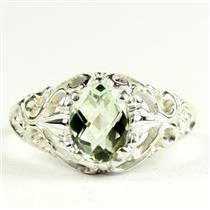 Green Amethyst, 925 Sterling Silver Ladies Ring, SR113