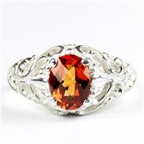 Created Padparadsha Sapphire, 925 Sterling Silver Ladies Ring, SR113
