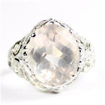925 Sterling Silver Ladies Filigree Ring, Rose Quartz, SR114
