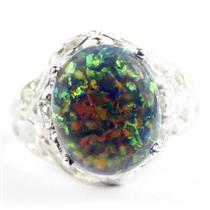 925 Sterling Silver Ladies Filigree Ring, Created Black Opal, SR114