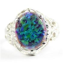 Created Blue Green Opal, 925 Sterling Silver Ladies Ring, SR114