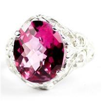 925 Sterling Silver Ladies Ladies Ring,Pure Pink Topaz, SR114