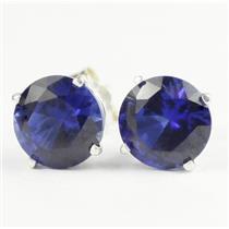 925 Sterling Silver Post Earrings, Created Blue Sapphire, SE012