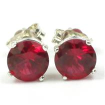 925 Sterling Silver Post Earrings, Created Ruby, SE012