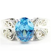 Swiss Blue CZ, 925 Sterling Silver Ladies Ring, SR281