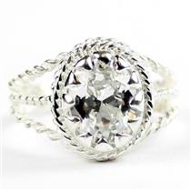 Cubic Zirconia, 925 Sterling Silver Ladies Ring, SR070