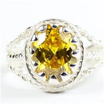 Golden Yellow CZ, 925 Sterling Silver Ladies Ring, SR070